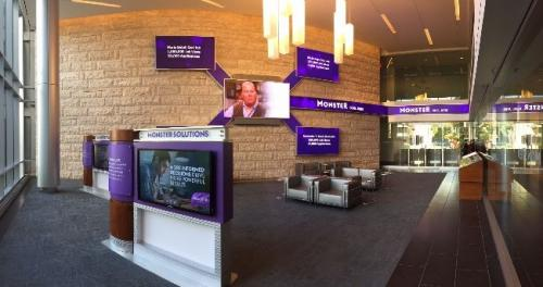 spinetix videowall featuring led displays at monster office