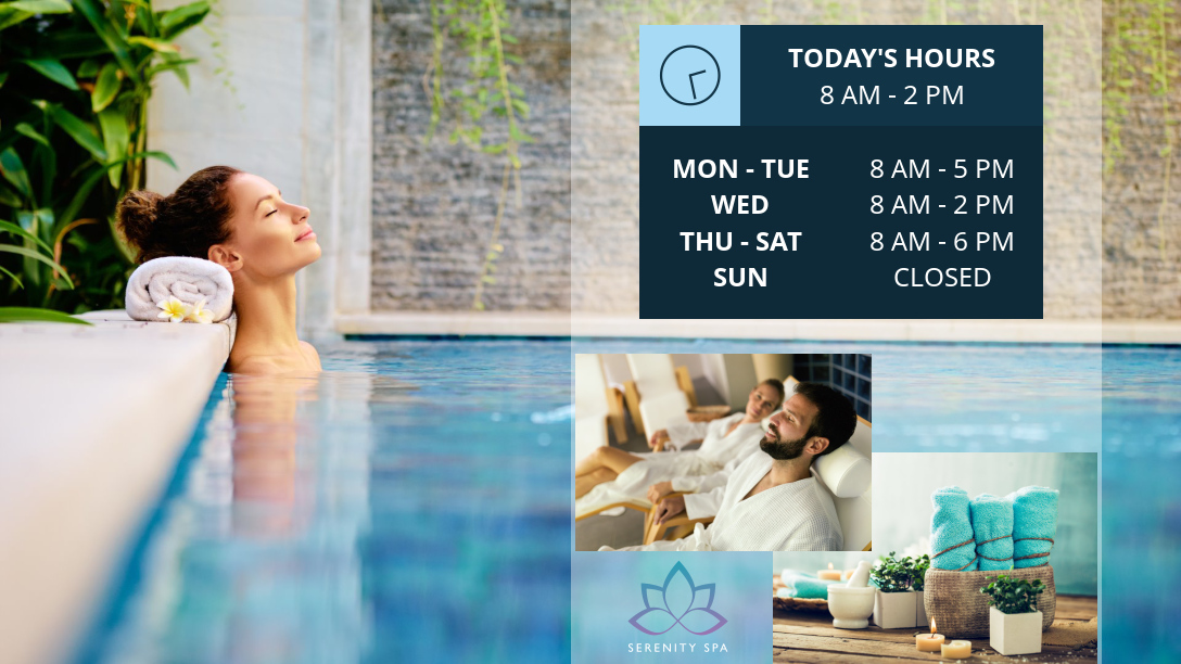 spinetix opening hours widget in a spa environment