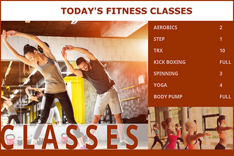 spreadsheet digital signage for a fitness gym