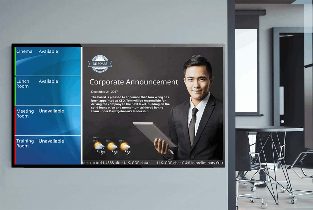 Room scheduling with digital signage integrated with Crestron Fusion
