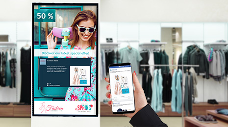 use of spinetix digital signage solution for retail with the elementi facebook widgets