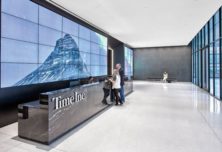 spinetix digital signage at time inc. headquarters in new york