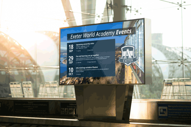 digital signage and events calendar in education