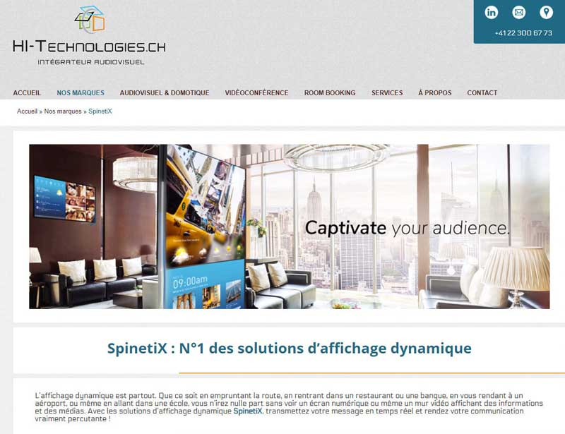 spinetix web kit on hi-technologies website