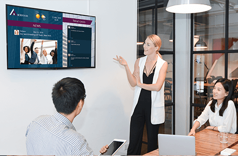meeting space with yammer display