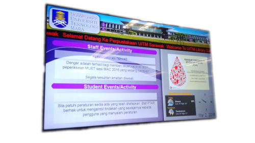 News screen at University Technology Mara