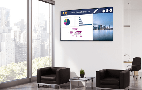 spinetix digital signage screen with excel-chart dashboard