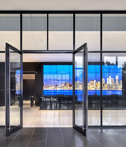 video wall at reception of time inc. headquarters new york