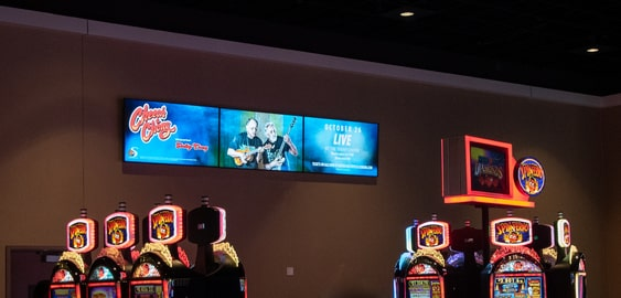 spinetix videowall composed of LED displays at soboba casino gaming floor