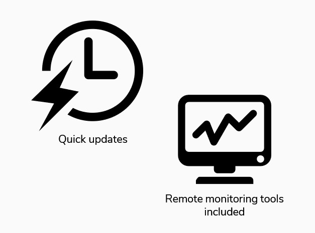 quick updates and remote monitoring tools included