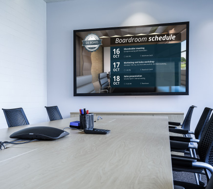 elementi calendar widget on corporate boardroom display