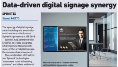 ISE daily printed ad spinetix crestron partnership february 2018
