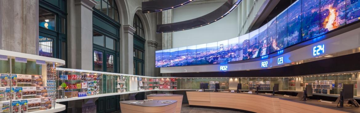 Zurich tourist information center video wall