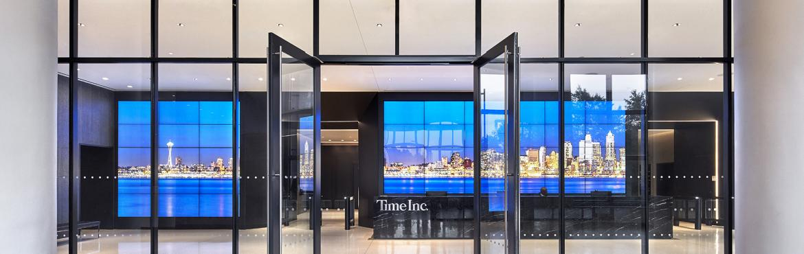 Time Inc. lobby welcome video wall