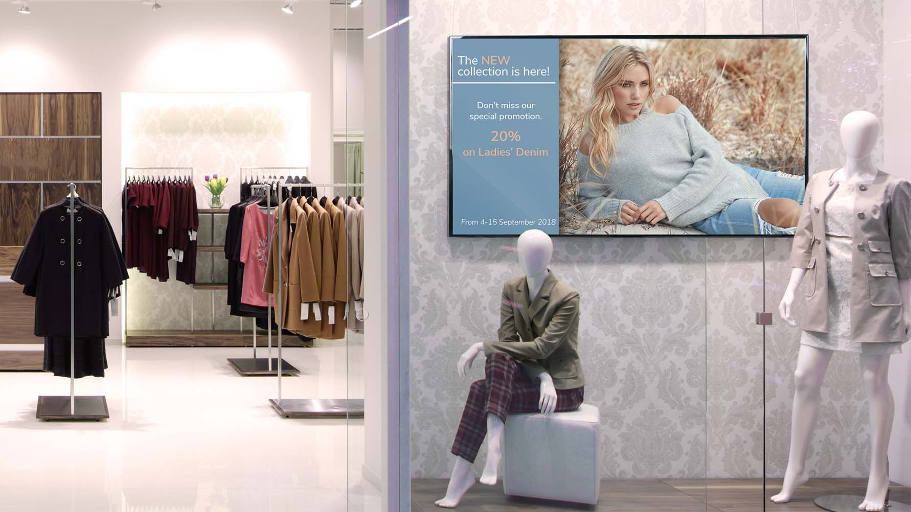 arya digital signage solution in a retail shop