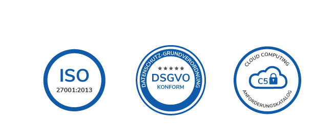 iso, gdpr, and c5 seals of quality