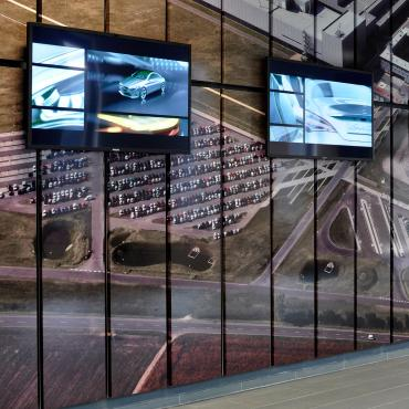 Mercedes production site lobby.